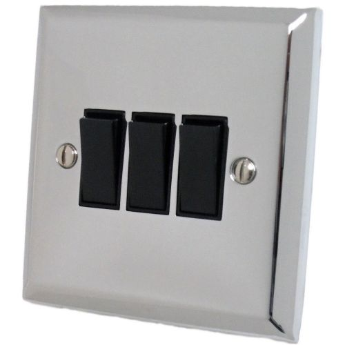 G&H SC3B Spectrum Plate Polished Chrome 3 Gang 1 or 2 Way Rocker Light Switch